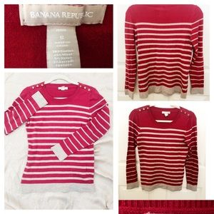 Banana Republic Cherry Red stripped sweater.Size S